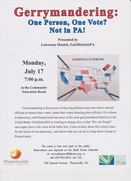 Gerrymandering event poster - 20170717