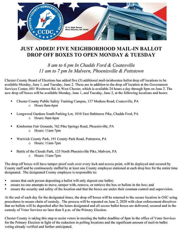 5 Neighborhood Mail-In Ballot Drop Off Boxes to Open Monday & Tuesday