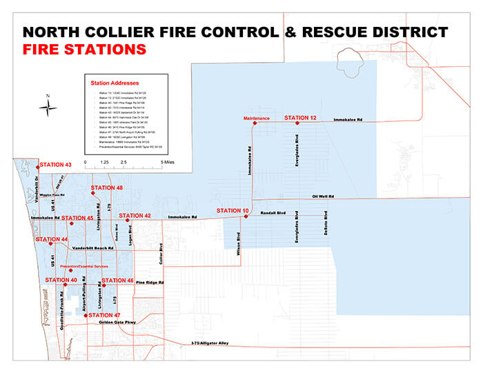 Map of North Collier Fire Control & Rescue District Fire Stations