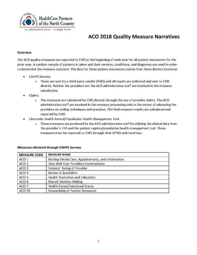 2018 Aco Quality Measure Specs North Country Initiative