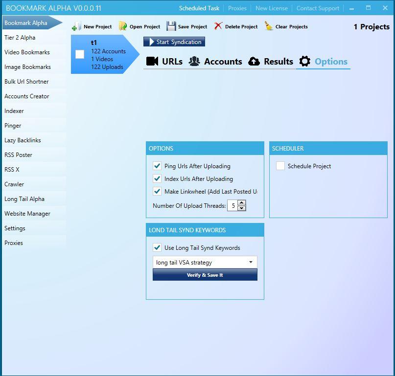 Main Bookmark Alpha Dashboard