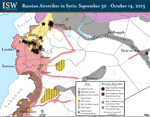 Institute for the Study of War, map of Russian airstrikes in Syria, Sept. 30 - Oct. 14, 2015