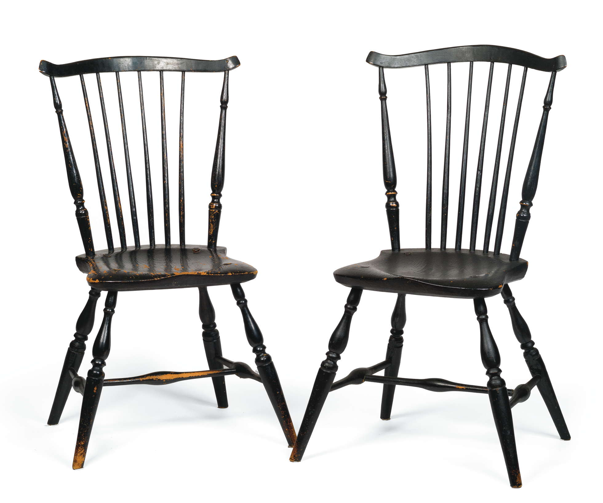 Black Windsor Chair Pair Of Windsor Fan Back Side Chairs In Black Paint