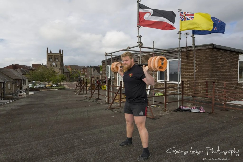 Graison Dale, Consett Rugby Club New Zealand player, training on the roof of the Demi Club, Consett,  Co. Durham, ENGLAND.