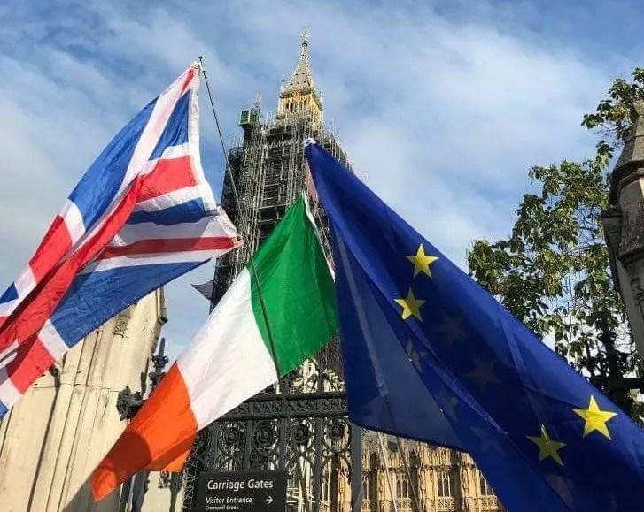 UK, Irish and EU flags