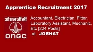 ONGC Jorhat; Recruitment of 224apprentice post