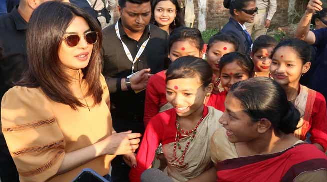 Priyanka Chopra perform Bihu with Assam School Girls