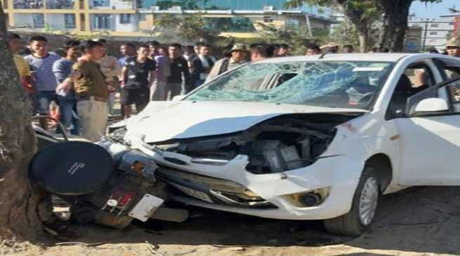 Nagaland: Two died after being hit by a car while riding scooter in Chumukedima