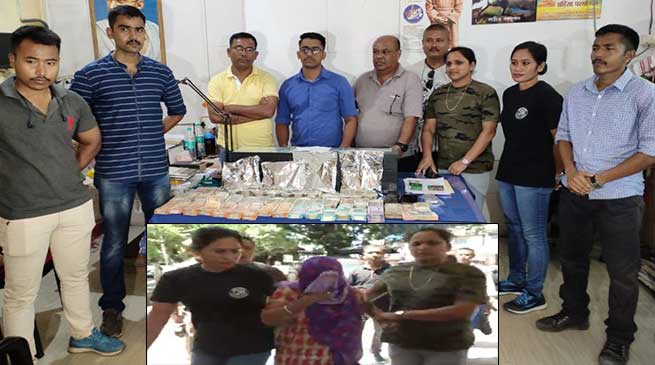 Assam:1.14kg heroin and Rs. 19.55 lacs cash seized in Dibrugarh