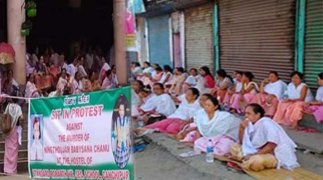 Manipur: women sit-in protest against death of Baby Sana