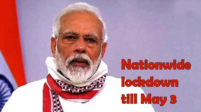 Prime Minister Narendra Modi today extended the nationwide lockdown till May 3