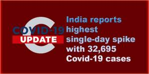 Coronavirus: India reports highest single-day spike with 32,695 Covid-19 cases