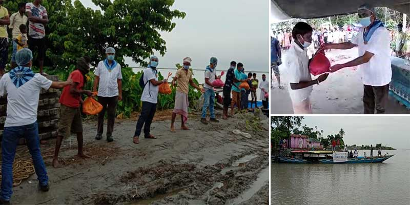 Assam: SSSSO distributed relief materials at Flood Relief Camp in Jengpari Village of Morigaon