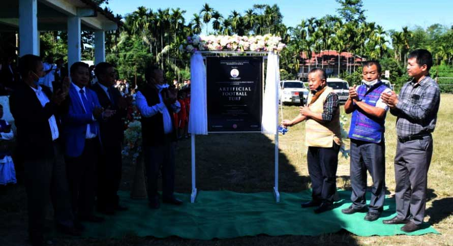 Mizoram: Robert Romawia Royte unveiled the laying of Astro Turf surface at Kamalanagar Football Ground