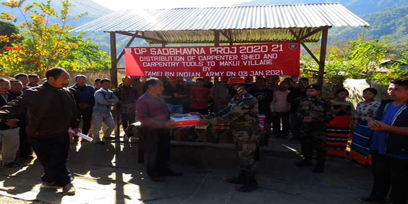 Manipur: Army presents carpenter shed, carpentry tools to villagers