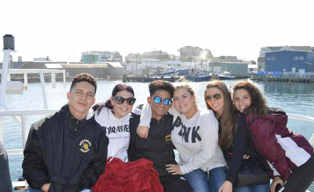 The winning team of Northeast's summer reading project went on a whale watch this week. Students, left to right: Yorick Jimenez Zelaya, of Chelsea, Alyssa Stanley, of Wakefield, Luis Barillas Natareno, of Chelsea, Janee Courtois Wallace, of Saugus, Samantha Clark, of Wakefield, and Sophia Basile, of Saugus. (Courtesy Photo Northeast Metro Tech)