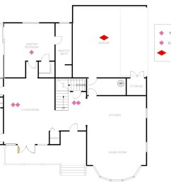 this floor plan shows the same home that we detailed before only this time adhering to 2008 fire requirements note the heat alarm in the garage and smoke  [ 1461 x 1030 Pixel ]