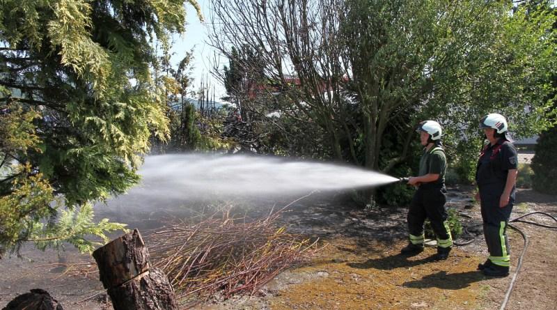Feuerwehr löscht brennende Bäume