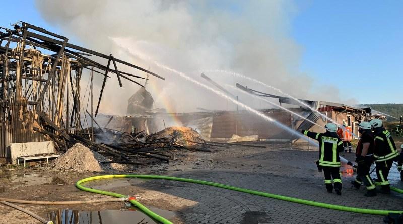 Mehr als 1.000 Tiere sterben bei Großfeuer in Relliehausen, Rauchwolke war weit sichtbar UPDATE