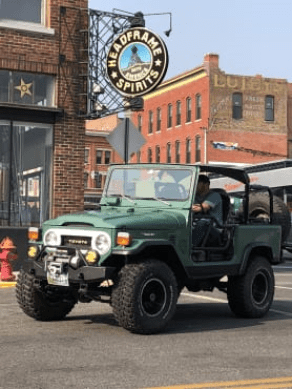 Landcruiser and headframe spirits in Butte Montana