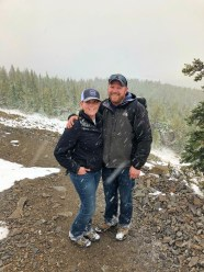 Andy and Crystal caught in a snow storm at Meadow Peak Lookout