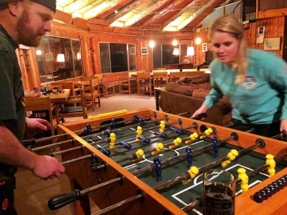 Foosball Game at Downing Mountain Lodge