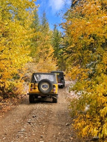 Jeepster and Dodge making their way up to Meadow Peak Lookout in NW Montana