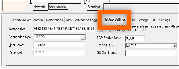 Configuring Quota Server for NetApp Step 3