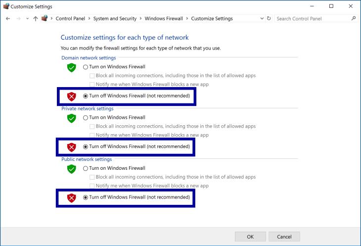 Firewall Setup - Disable Firewall Step 2