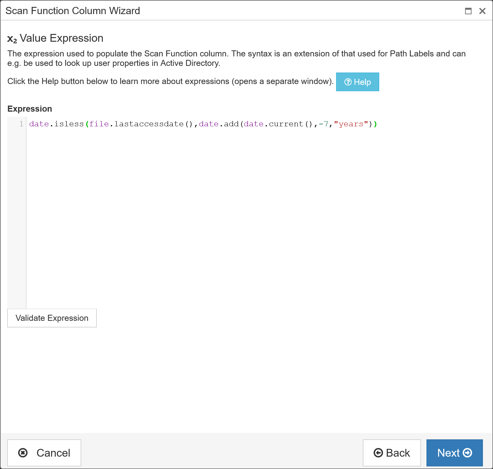 Function Columns - Add or edit wizard expression page