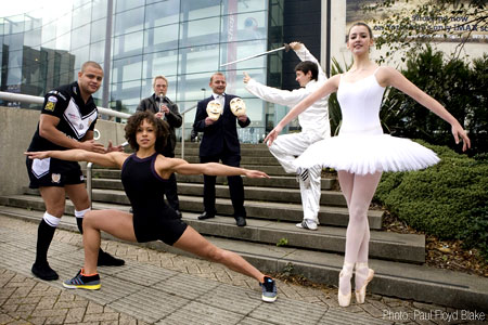 Back row left to right: Paul Kaiserman, ArtForms, Education Leeds; Simon Wells, Open Minds Theatre Company; Michael Bursey, College of Chinese Physical Culture; front row left to right: Jordan Tansey, Hull FC, RFL; Amanda Lewis, Phoenix Dance Theatre; Megan Hughes, Northern Ballet Theatre