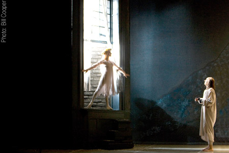 Julie Christmas as the Ghost of Christmas Past and Darren Goldsmith as Scrooge in Northern Ballet Theatre's A Christmas Carol (Photo: Bill Cooper)