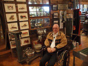 Volunteer guide Dale Barnaby is a longtime resident of Nunn. As a boy, he played school basketball on the this floor that now holds a trove of local historical treasures.