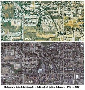 The northernmost portion of the West Central Neighborhoods shown in 1977 and 2013. (Click to expand.)