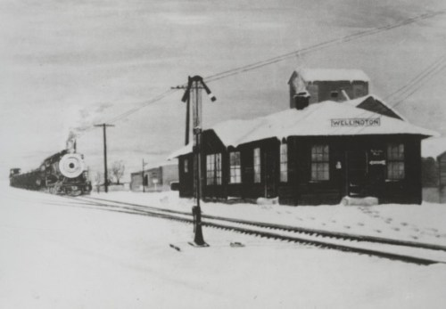 """The Wellington train depot was built in 1916 and demolished around 1959. This photo is also from Ahlbrandt's """"History of Wellington."""""""