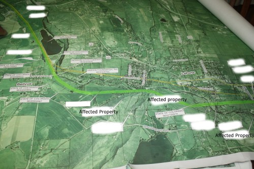 The yellow lines show the two pipelines that currently exist to carry water from the Poudre to Greeley. The bright green line indicates where a third pipeline would go.