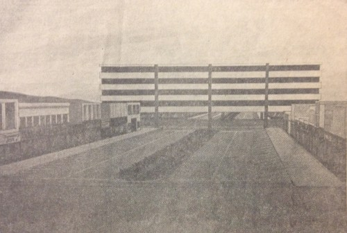 Artist rendering of a parking structure over the intersection of Colllege and Laporte. (From a Coloradoan article on file at the Fort Collins Archive.)