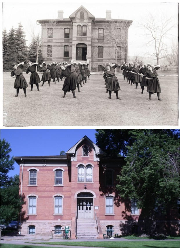 Girls do exercises in front of Spruce Hall. The notation in the CSU Archive points out that this is a mirror image that was in the Colorado School of Agriculture Prospectus for 1915-1916.