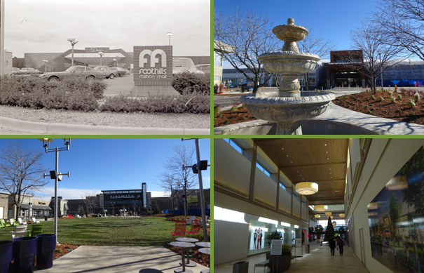 Upper left -- the mall in 1975 (from the FC Archive - T01276c). Upper right -- fountain in front of the mall. Lower left -- the new theater. Lower right -- inside the mall.