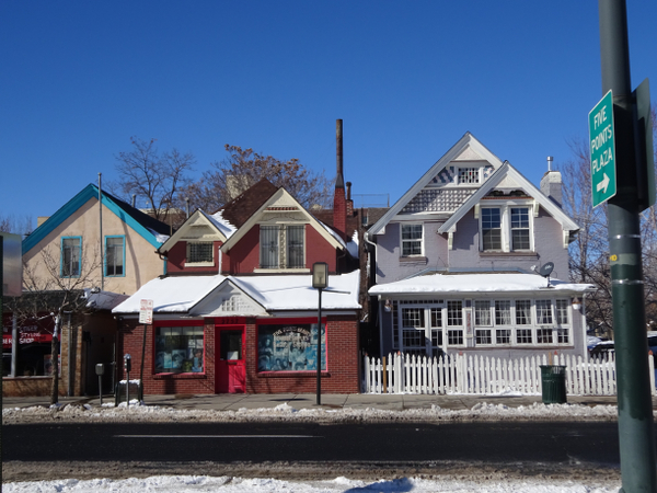Houses converted into shops.