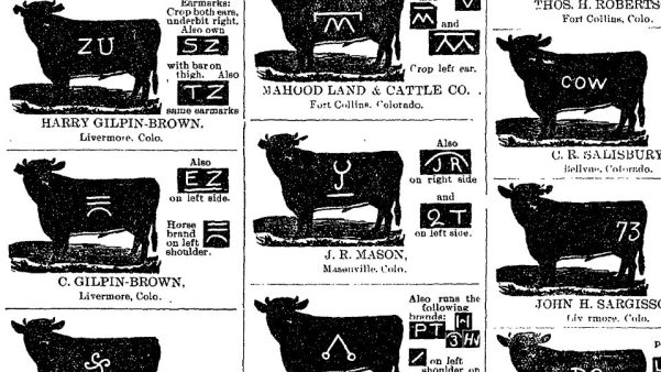 J. R. Mason's cattle brand as found in the Fort Collins Weekly Courier from August 16, 1901. (via ColoradoHistoricNewspapers.com.)