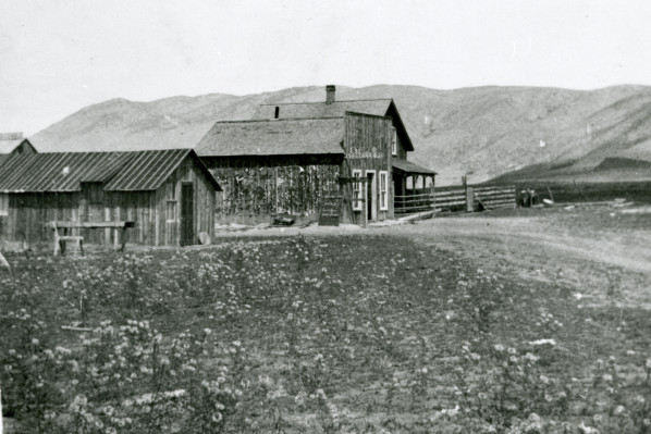 This image is from the Fort Collins Archive (#H08376) and shows the store before it was moved. The building at left is where the Dickerson sisters and their mother would stay during the school year, since the Masonville school was the closest to their home, but too far to travel to each day. The middle building is the Masonville store. The Kitchens lived in the house on the far side.