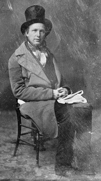 Photograph of Horace Greeley by Mathew Brady, taken between 1844 and 1860.