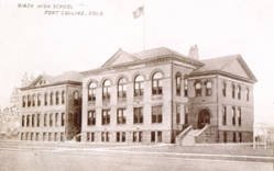 The Fort Collins High School building before the north annex was added in 1921. (From the Fort Collins Archive - #H20762.)