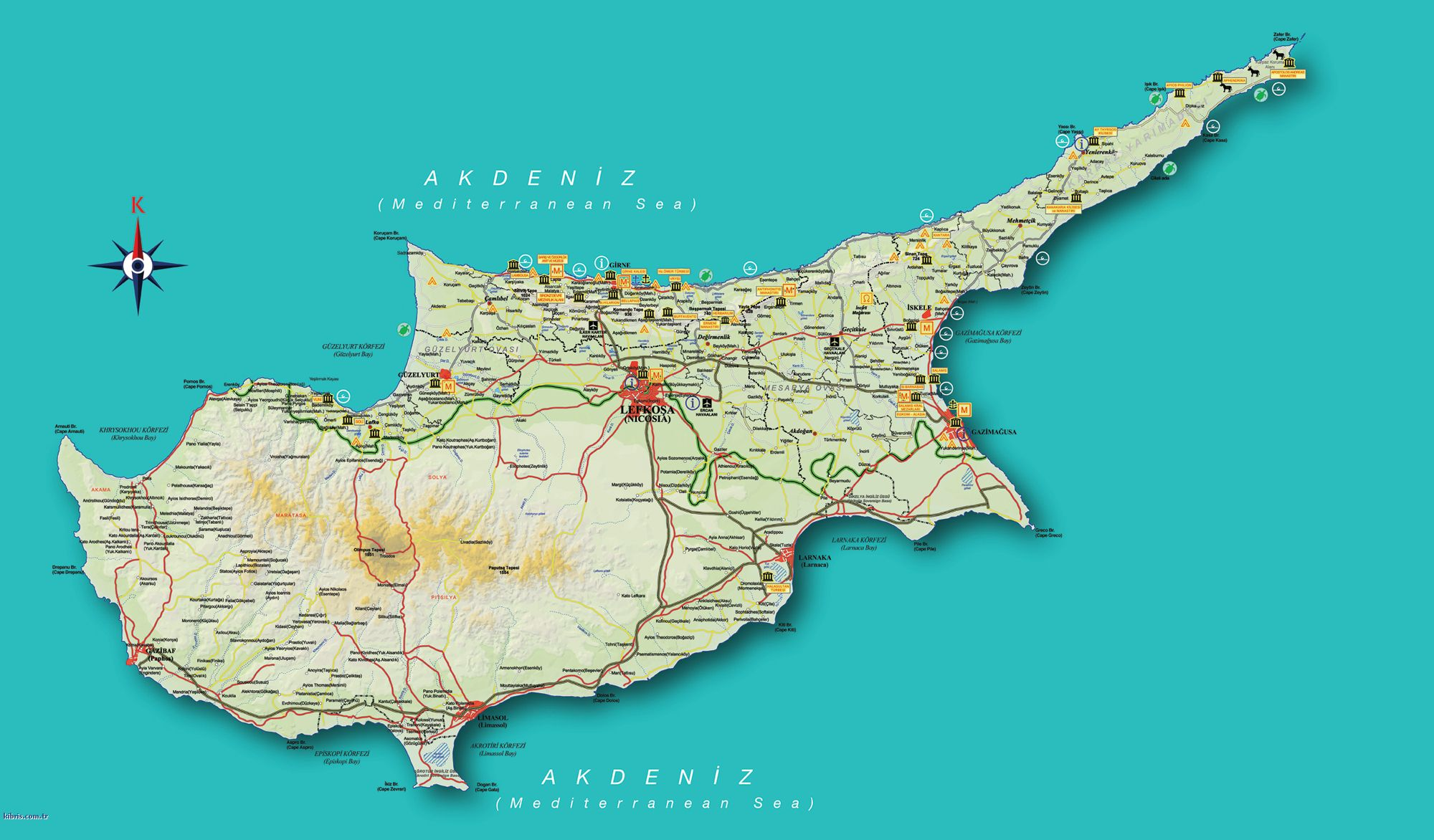 The Road Map Of North Cyprus North Cyprus Travel Guide