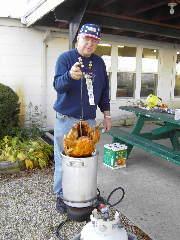 Dwight frys a turkey