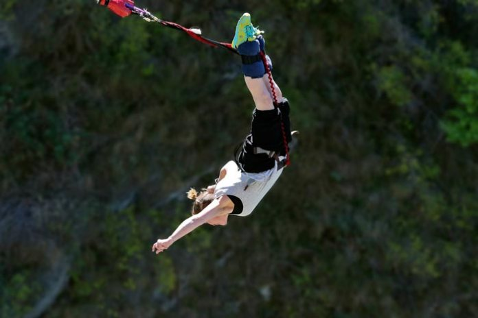 Kay Green bungee jumping