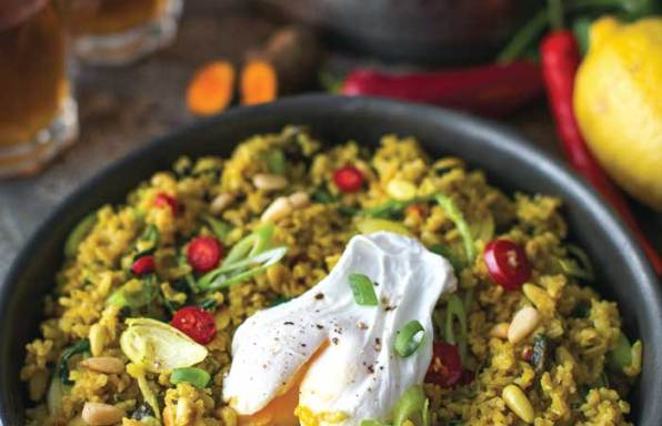 Watercress brown rice pilaf