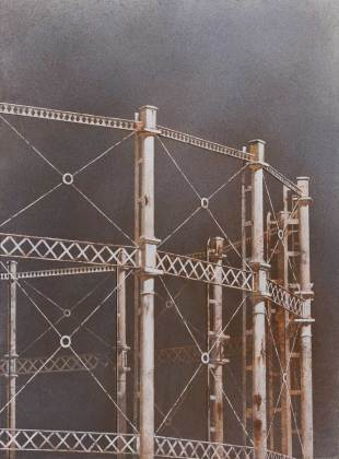 Maxwell Doig Gasometer II 122 x 90cm Acrylic on canvas on panel