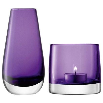 LSA International Bud Vase and Tealight Holder, Violet